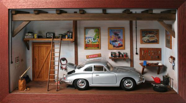 Diorama Klassikwerkstatt 1:18 mit Modellauto Porsche 356