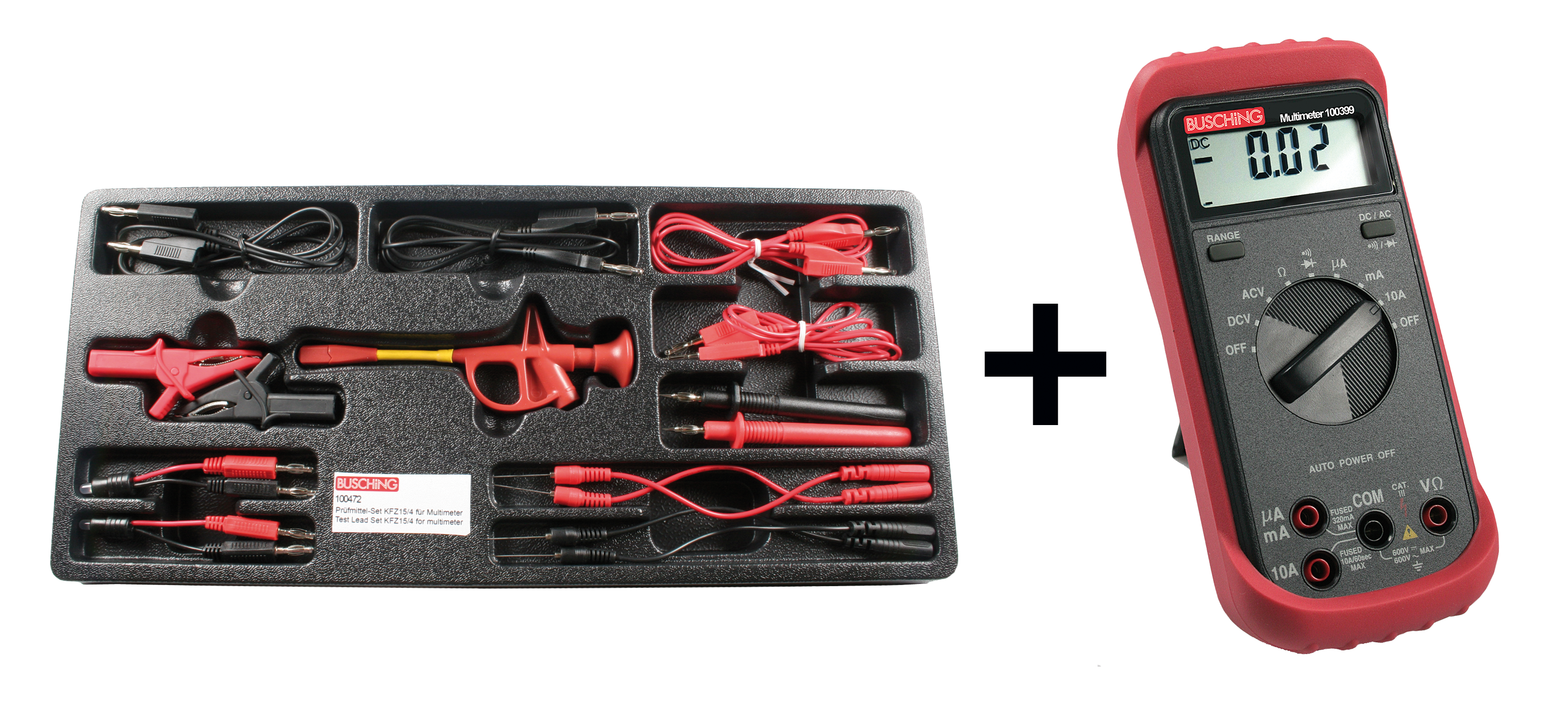 Prüfmittel-Diagnose-Set mit Multimeter | Messleitungen und Adapter ...