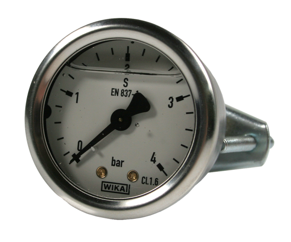 Manometer NG50, Glyzerinfüllung, 0 – 4 bar